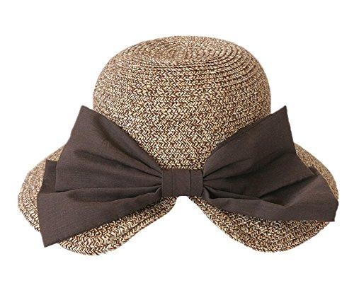Fletion Elegant Fashion Bow Chapeau de paille Visor Hat Ladies Vacation Protection solaire Summer Sun Hat Cap de plage kaki