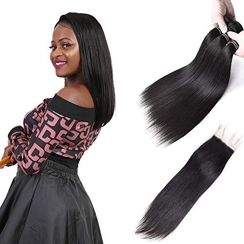 Brazilian bundles dritto con chiusura chiusura 3pcs dritto capelli umani vergini bundles with free part 4 x 4 extension per capelli