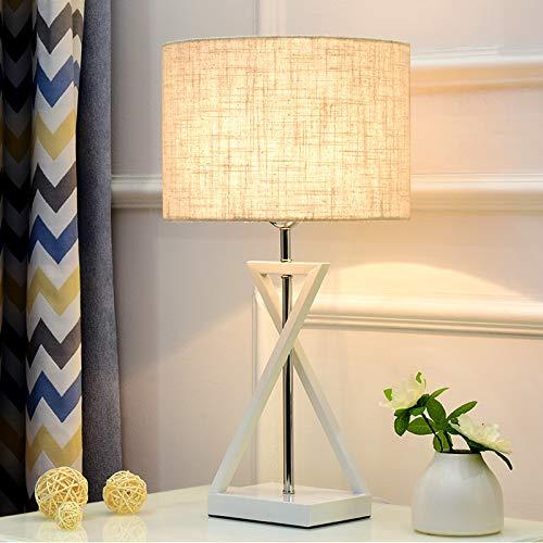 Tischlampe Schlafzimmer Bett einfache moderne europäische nordische kreative romantische Lesung Hotel Engineering Tischlampe Quadrat weiß + weiß Dimmschalter
