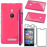 ebestStar - Cover Compatibile con Nokia Lumia 925 Custodia Protezione S-Line Design Silicone Gel TPU Morbida e Sottile + Penna +3 Pellicole plastica, Rosa [Apparecchio: 129 x 70.6 x 8.5mm, 4.5'']