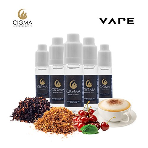 CIGMA 5 X 10ml E Liquid - American Dream Blend, 0mg (Ohne Nikotin) - USA Mix - Western - Mint USA mix - Cappuccino - Cherry Menthol | Neue Formel für starken Geschmack mit hochwertigen Zutaten | Für elektronische Zigaretten und E Shisha hergestellt.