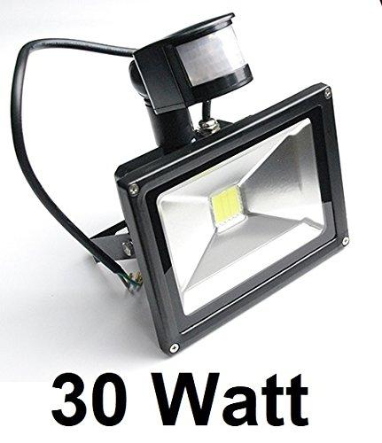 30 Watt LED Außenstrahler, Flutlicht mit einstellbarem Bewegungssensor / Bewegungsmelder, 120° Ausstrahlwinkel, Kaltweiß 6000 Kelvin, 2700 Lumen entspricht ~ 250 Watt Halogenstrahler, Schutzklasse IP65 - Staub- und Strahlwasserdicht