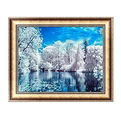 Logres Snow Cypress Trees DIY 5D Diamond Painting Cross Stitch Resin Embroidery Craft Home Decor