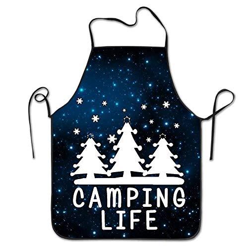LarissaHi Benutzerdefinierte Koch Schürze Camping Zeichen Happy Camper für Frauen Männer Kellnerin Backen Crafting Garten Kochen Girlling Barber Pinafore (Benutzerdefinierte Leder Kostüm)