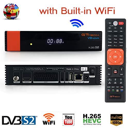 GTmedia V8 NOVA Satelliten Receiver DVB-S2 Sat Receiver Satellitenempfänger Digital TV Fernsehempfänger FTA Full HD 1080P mit Eingebaut WiFi, Unterstützung cccam, Newcam, PowerVu, DRE & Biss-Taste