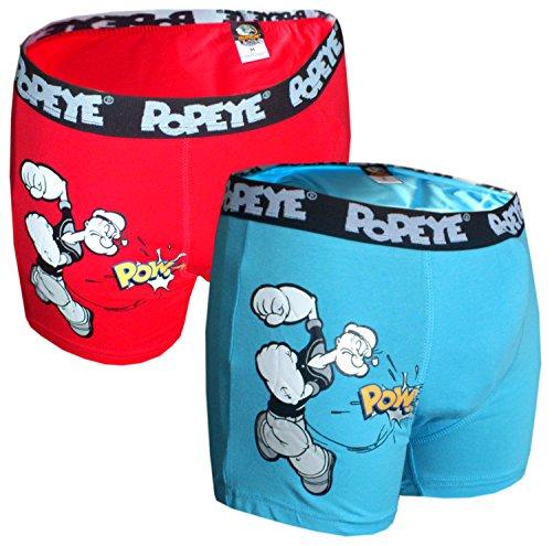 Popeye 2er Pack Boxershorts Rot und Blau Seemann (XXL, Blau und Rot)