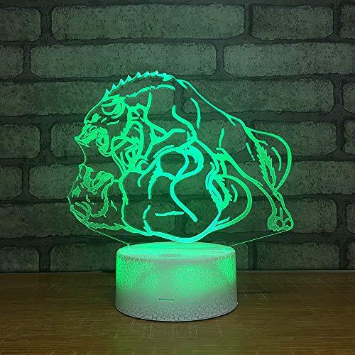 3D Illusione Ottica Led Lampada di Illuminazione Luce Notturna 7 Colori con Acrilico USB Batteria Notturna Touch Control Crack Base War Wolf