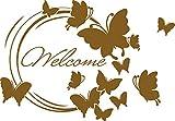 GRAZDesign 690049_50_091 Wandtattoo Welcome Schmetterlinge - Willkommen Spruch für Flur/Eingang (72x50cm//091 gold)