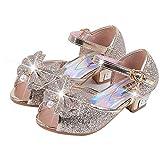 Scarpe con Paillettes da Ragazza Scarpe con Tacco Alto da Principessa Décolleté per Bambini 35 EU/Etichetta 37 Oro(Punta Aperta)