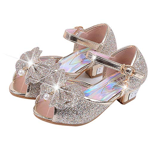 Mädchen Prinzessin High Heel Schuhe Kinder Party Pumps 33 EU/Etikette 35 Gold(offener zeh) Party Schuhe