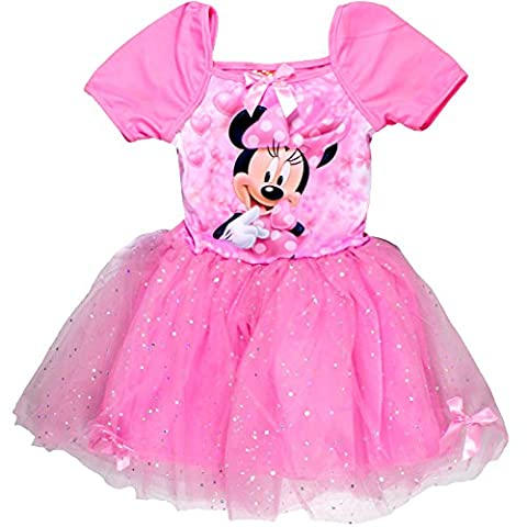 Minnie Maus - Robe - Manches Courtes - Fille Rose Rose bonbon