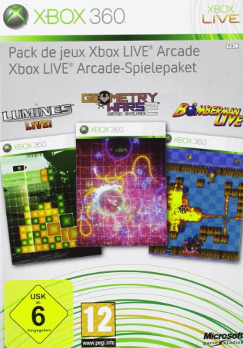 Xbox Live Arcade Spielepaket 4 Spiele Lumines, Geometry Wars, Bomberman Live + MS. Pac-Man + 48 h X-LiveGoldabo [Importación alemana]