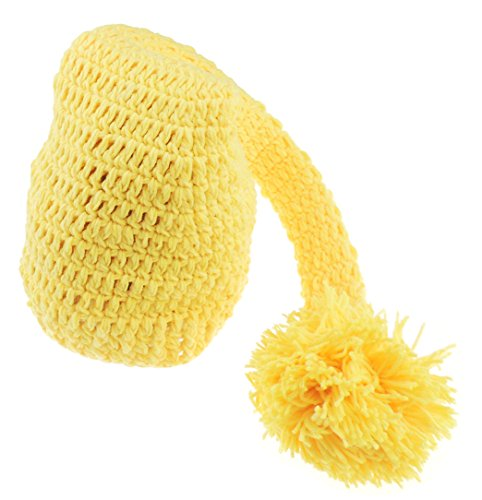 Baby Mädchen Jungen häkeln Neugeborene Knit lang Pom Pom Winkie Foto Prop gelb (Bootie Pom)