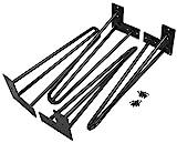 LAUBLUST Haarnadel Tischbeine im 4er Set - Stahl Schwarz Lackiert ca. 40 x 12 x 12 cm - Standfüße Zum Möbelbau
