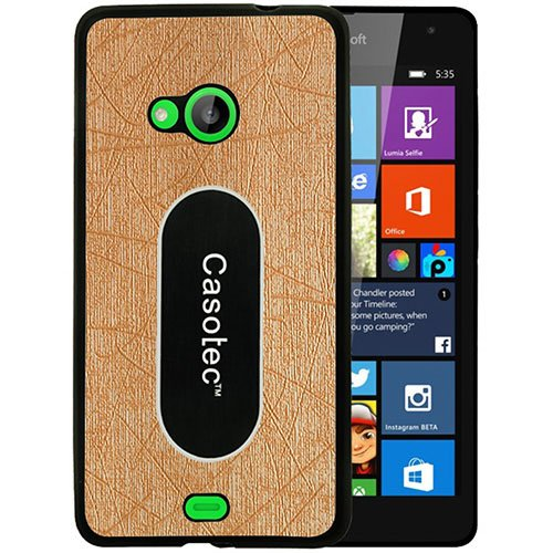 Casotec Metal Back TPU Back Case Cover for Microsoft Lumia 535 - Gold  available at amazon for Rs.125