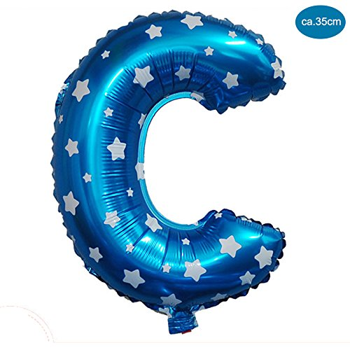 uchstaben Blau [ca.40cm], Buchstaben ballon für Geburtstag Jubiläum & Party Geschenk Dekoration Folienballons Luftballons Zahl ballon Happy Hochzeit Birthday A-Z (BLAU [ C ]) (Blaue Buchstaben)
