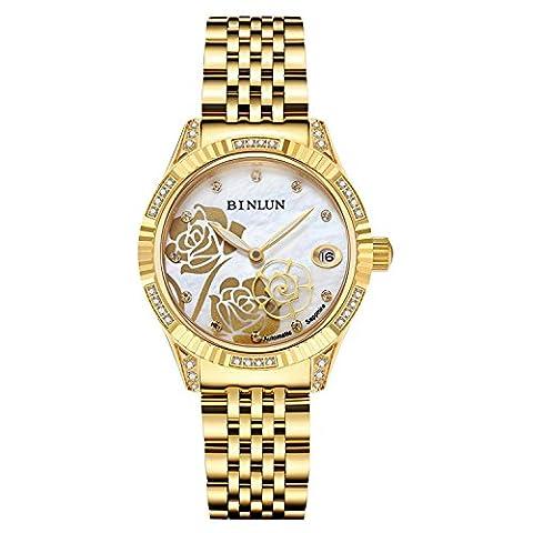 Binlun - Montre automatiques pour femmes en or, Montre bracelet rose étanche en diamant de seconde mais pour femmes avec cadran en nacre