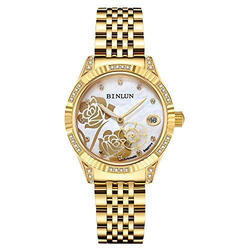 Binlun - Montre automatique pour femmes - En or - Trotteuse en forme de rose - Diamants - Étanche - Cadran nacré