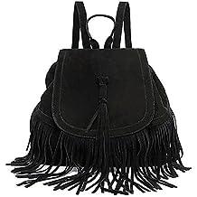 LUI SUI moda de mujer de imitación de cuero de cuero con flecos borla bolso de gran capacidad ocasional hippie mochila bolsa