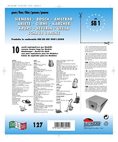 Elettrocasa SB1 Sacchetti per Aspirapolvere BDS Confezione da 10