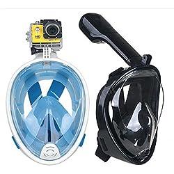 Trocent Masque de Plongée Snorkekel Plein Visage 180° Vision Intégral Easybreath avec technologie anti-brouillard et anti-fuite pour GoPro Caméra Adultes et Jeunesse