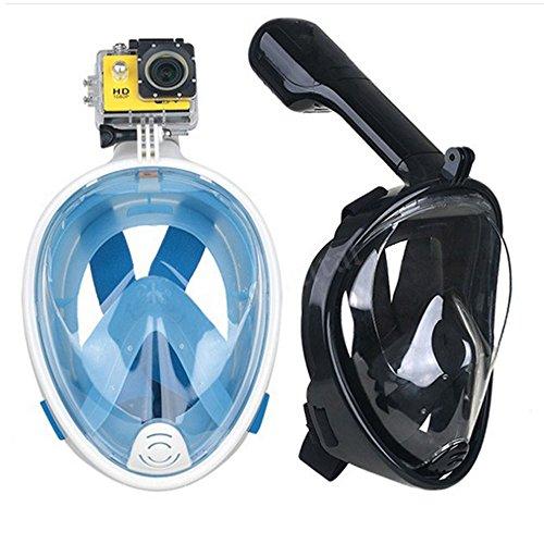 Trocent Tauchmaske, 180° vollgesichte Easybreath Schnorchelmaske mit Anti-Fog und Anti-Leck-Technologie für für GoPro Kamera, Erwachsene, Damen und Herren (Blau, M)