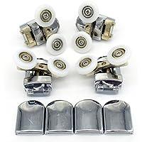 Set of 4 Twin Shower Door Rollers Runners Wheels Pulleys 23mm Wheel Diameter Top Bottom Bathroom Replacement Parts