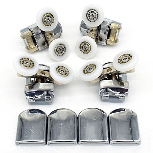Set von 4Twin Dusche Tür Rollen Läufer Rädern 23mm Durchmesser Riemenscheiben Top Bottom Badezimmer Ersatzteile -