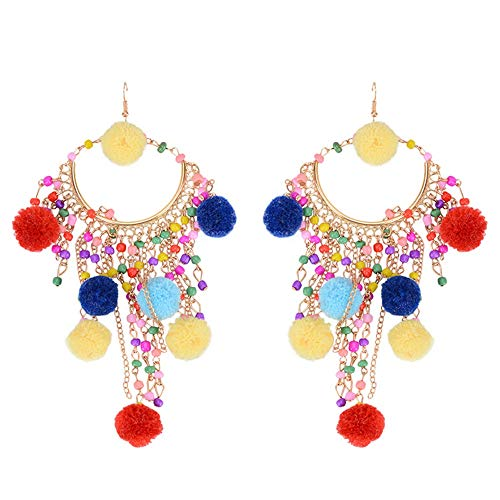 MALLTY Orecchini Etnici Orecchini Nappa Vintage Ladies Eardrop (Color : Colorful)