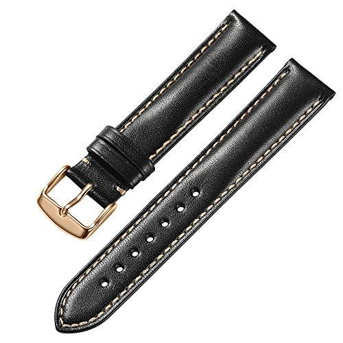 iStrap 18 mm 19mm 20 mm 21mm 22 mm echt Leder Uhrenarmband Armband gepolstert Kalbsleder Gurt Edelstahl Schnalle Super Weich Schwarz Braun Dunkelbraun - Uhrenarmband Tissot Edelstahl