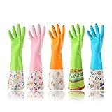 Latex gloves 3 Paia Di Durevoli Piatti Impermeabili Utensili Da Cucina Pulire I Guanti Da Bucato (colori Casuali, Modelli Sottili, Spessi) (Colore (plus cotton), dimensioni : L.)