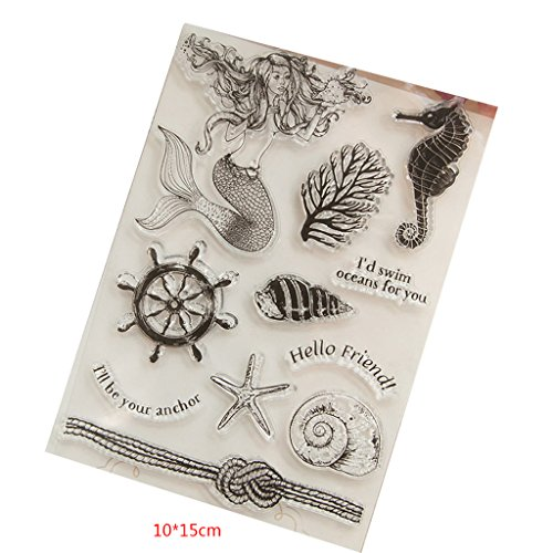 Yiyilam Meerjungfrau Transparent Klar Silikon Stempel Für DIY Scrapbooking Fotoalbum Dekor, Perfekt für DIY Grußkarte Notebook Einladungskarte