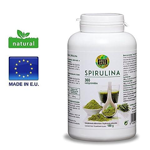 Spirulina Kapseln, 100% pur & natürlicher Vitalität & Energy Booster, 360 Spirulina Tabletten für Extra Proteine, Spirulina Presslinge empfohlen für