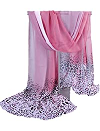 Wensltd Clearance Women Leopard Shade Stole Shawl Wrap Soft Chiffon Scarves (Hot Pink)