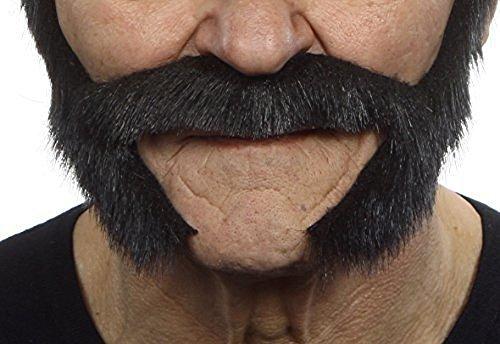 Schwarz glänzender Backenbart Bart