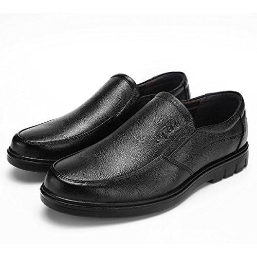 LYZGF Gli Uomini Di Mezza Età Business Casual Fashion Pigro Scarpe In Pelle Di Papà Black