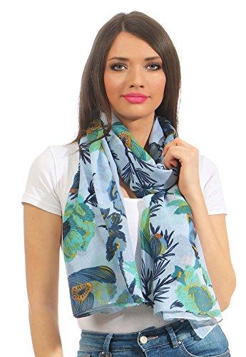 Damen Tuch Sommer Schal feine edle Qualität mit Blumendruck 180x85cm in der Geschenkbox (Blau)