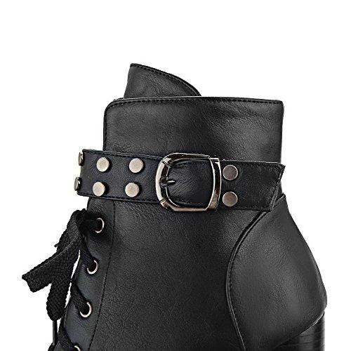 VogueZone009 Donna Cerniera Tacco Alto Luccichio Puro Bassa Altezza Stivali con Metallo Nero