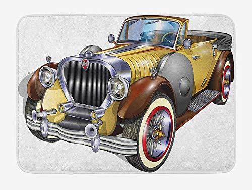 MSGDF Man Cave Bath Mat, Antique Obsolete Classical Car Graphic Style Automobile Vehicle Engine Nostalgia, Plush Bathroom Decor Mat with Non Slip Backing, 23.6 W X 15.7 W Inches, Multicolor