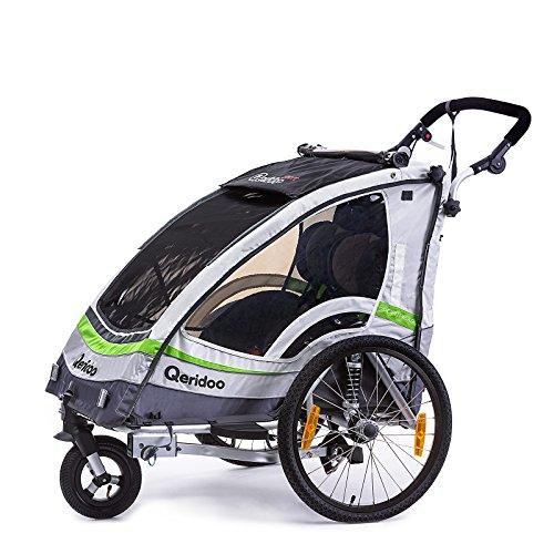Qeridoo Sportrex 2 Deluxe (inkl. Sitzpolster) Kinder-Fahrradanhänger (mit einstellbarer Federung)