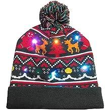 Mymyguoe Sombrero de Fiesta de suéter Feo de Punto con luz LED Casquillo Festivo de luz