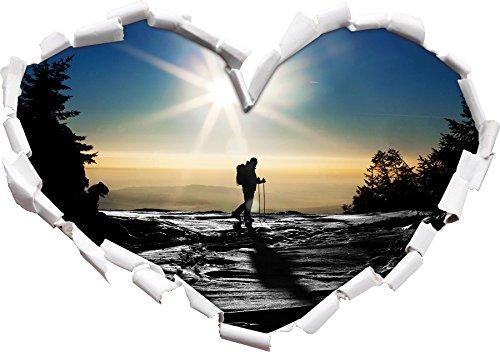 Stil.Zeit Ski Langläufer auf Berg schwarz/weiß Herzform im 3D-Look, Wand- oder Türaufkleber Format: 62x43.5cm, Wandsticker, Wandtattoo, Wanddekoration