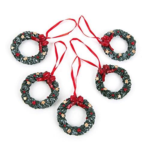 5 Stück Weihnachtsanhänger GRÜN ROTER KRANZ SCHLEIFE Baumschmuck 6 cm Geschenkanhänger Weihnachten Christbaum Anhänger weihnachtliche Deko zum Aufhängen