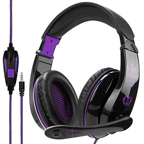 Wired Stereo Gaming Headset, Anivia A9 3,5 mm Kopfhörer mit Mikrofon für PS4 / NewXboxOne / PC / Mac / Smartphones / Tablets / Laptop-Schwarz lila (Ohrenschützer Position)