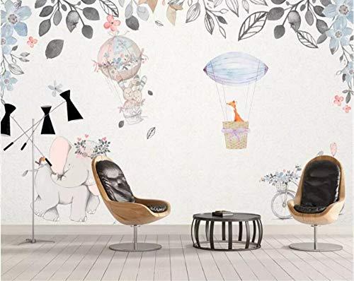 Europäischen Stil Handgemalte Cartoon Hd Wandbild Tier Heißluftballon Kinderzimmer Hintergrund Wanddekoration Tapete, 200 × 150 Cm