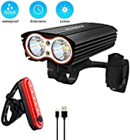 Gluckluz Bicycle Light Set Bike Cycling Headlight Taillight Kit Waterproof Front Rear Light Sets for Mountain