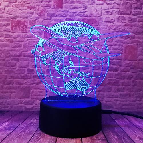 Wangzj 3d illusion lamp / 7 changing colors touch night light/decorazione camera da letto per bambini/regalo per bambini/aereo per piano terra