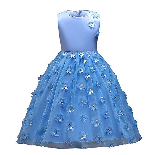 Sunenjoy Princesse Robe Filles 3D Fleur Tutu Robe Tulle Habillée Festival Sans manches Demoiselle d'honneur Robe Cérémonie Baptême Mariage pour 3-7 ans (5 ans, bleu)