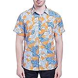 UJUNAOR Sommer Männer Hemd aus Baumwolle Casual Kurzarm Strand Drucken Bluse(Gelb,CN M)