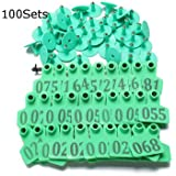 Green Animals Cattle Goat Pig Sheep Use Ear Number Tag Livestock Tags Labels -100 Sets